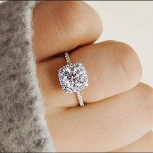 Faux Diamond Engagement Wedding Ring
